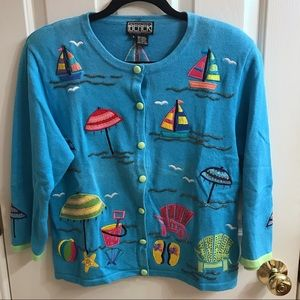 Berek vintage nautical beach embroidered cardigan